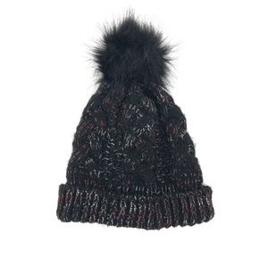 Steve Madden Marled Cable Knit Faux Fur Beanie Hat